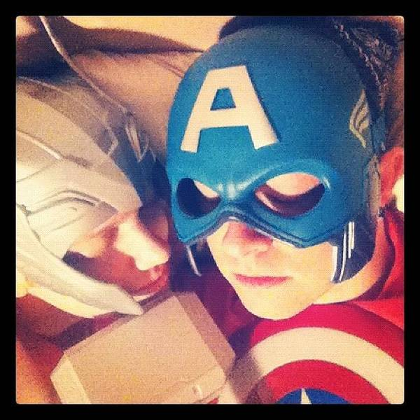 Superhero Wall Art - Photograph - Thor And Captain America. #gay #lovers by Joey Broyles