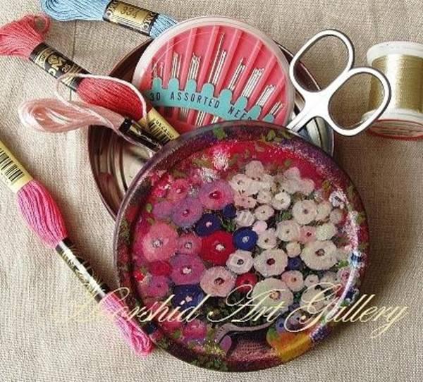 Acrilic Painting - Thread And Needle Box by Ameneh Anoosheh