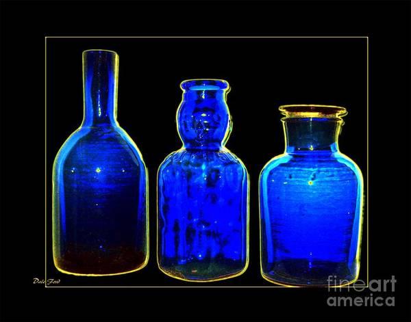 Digital Art - Three Blue Bottles by Dale   Ford