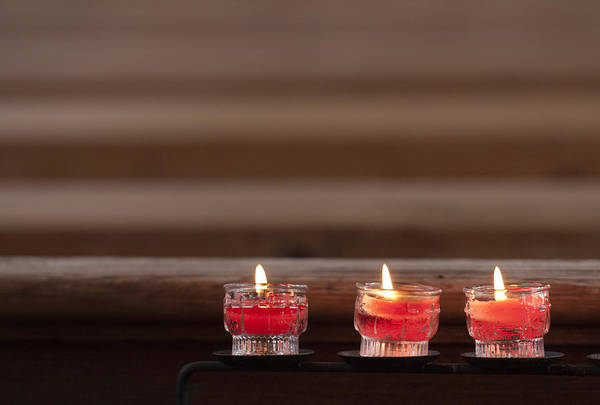 Photograph - Three Candles Burning In A Church by Matthias Hauser
