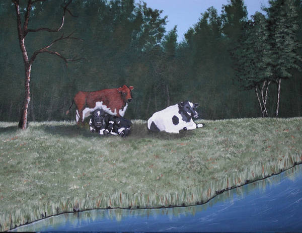 Wall Art - Painting - Three Cows by Candace Shockley
