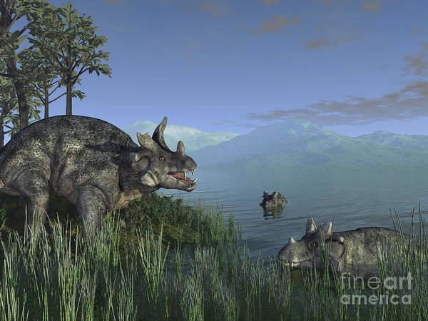 Paleobotany Digital Art - Three Estemmenosuchus Mirabilis Face by Walter Myers