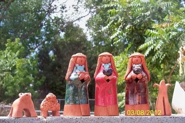Wall Art - Ceramic Art - Three Figures For Small Nativity Set by Esta Bain