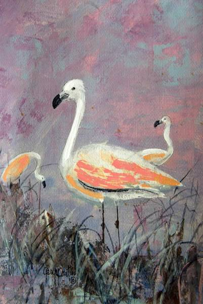 Painting - Three Flamingos by Gary Partin