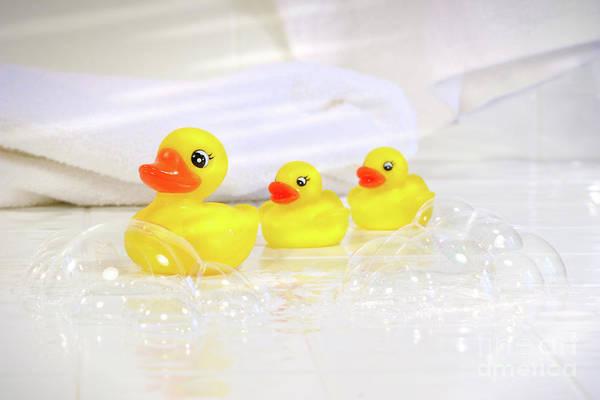 Bubble Bath Photograph - Three Little Rubber Ducks by Sandra Cunningham