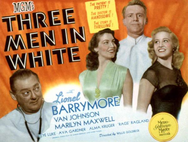 Van Johnson Photograph - Three Men In White, Lionel Barrymore by Everett
