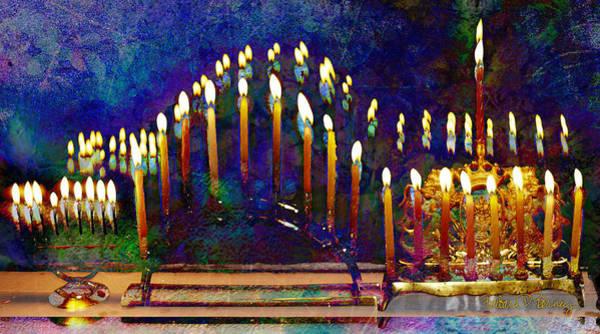Digital Art - Three Menorahs by Barbara Berney
