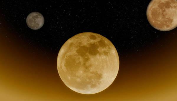 Photograph - Three Moon Rising by Joann Vitali