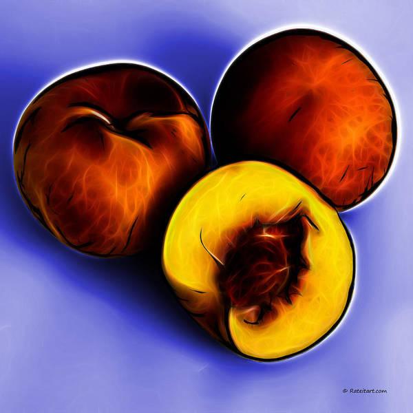 Digital Art - Three Peaches - Blue by James Ahn
