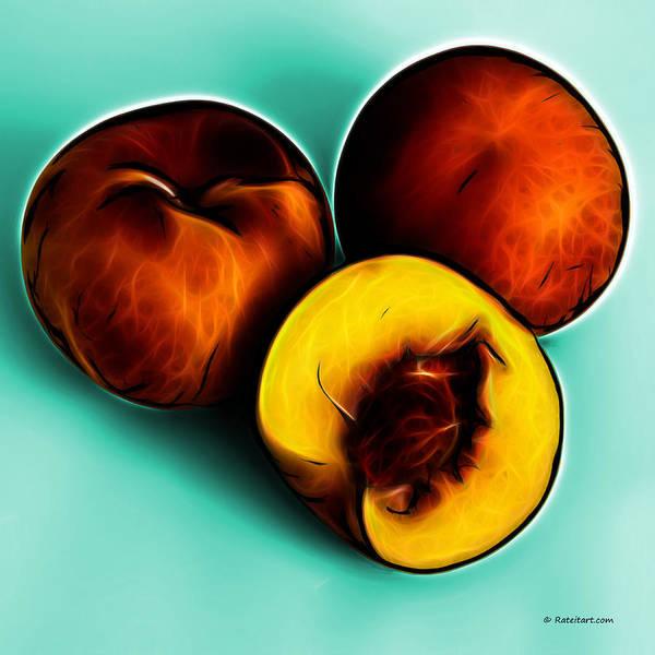 Digital Art - Three Peaches - Cyan by James Ahn