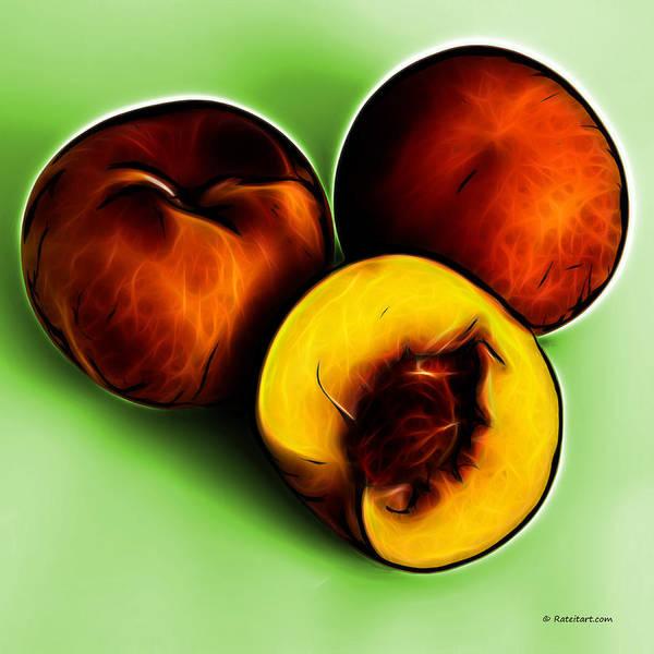Digital Art - Three Peaches - Green by James Ahn