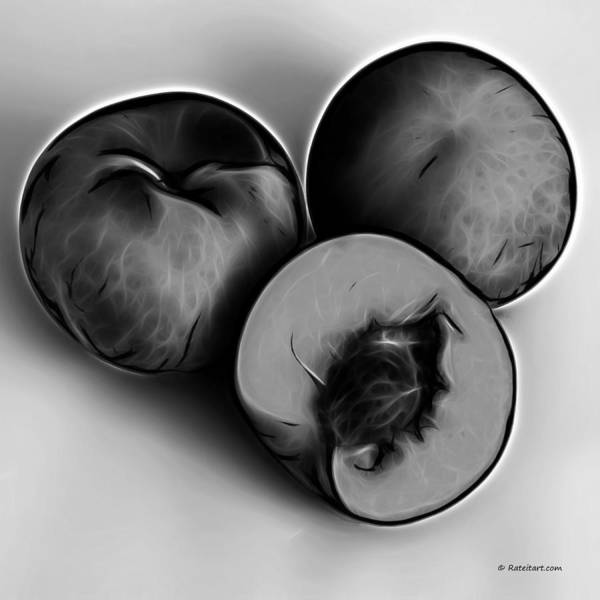 Digital Art - Three Peaches - Greyscale by James Ahn