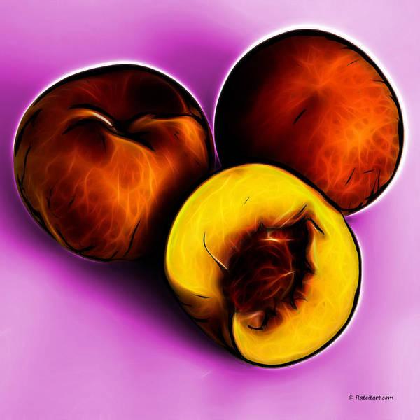 Digital Art - Three Peaches - Magenta by James Ahn