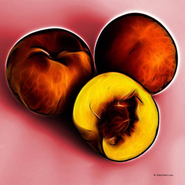 Digital Art - Three Peaches - Red by James Ahn