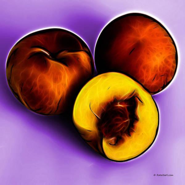 Digital Art - Three Peaches - Violet by James Ahn