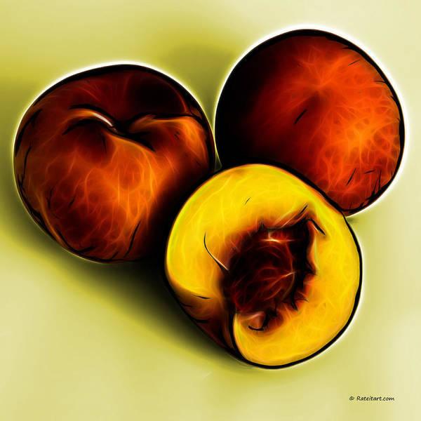 Digital Art - Three Peaches - Yellow by James Ahn
