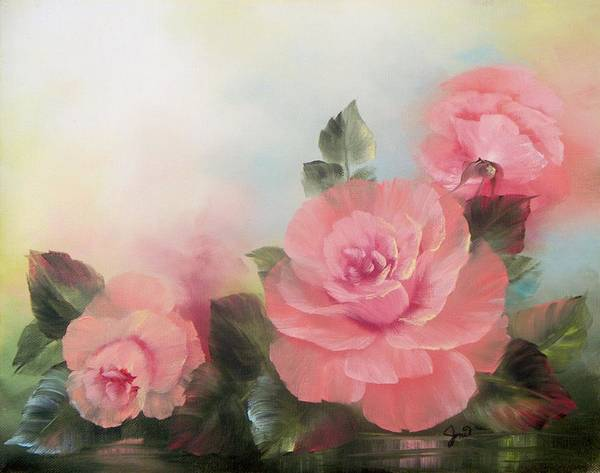 Painting - Three Pink Roses by Joni McPherson