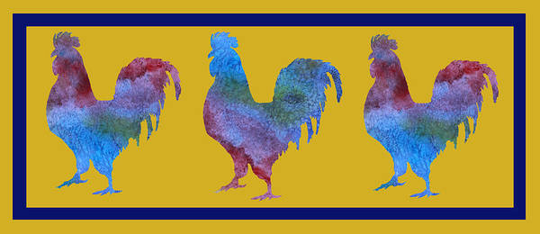 Rooster Digital Art - Three Roosters by Jenny Armitage