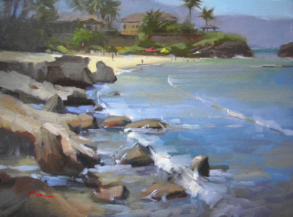 Wall Art - Painting - Three Tables Beach by Richard Robinson