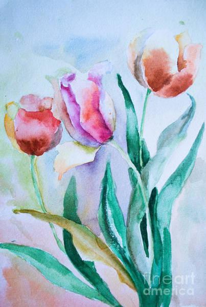 Pistil Painting - Three Tulips by Regina Jershova
