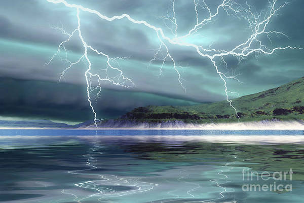 Fork Digital Art - Thunderclouds And Lightning Move by Corey Ford