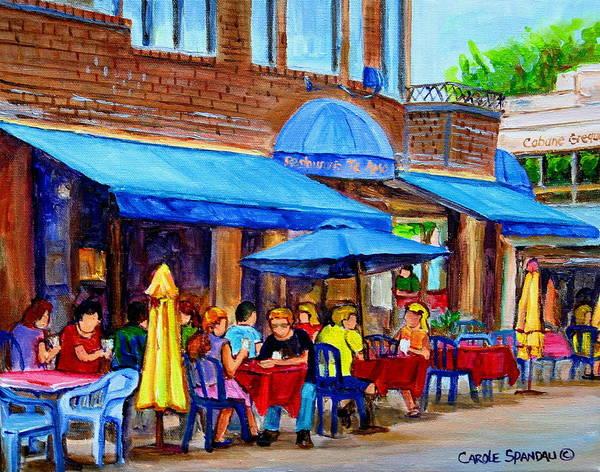 Painting - Ti Amo Restaurant Prince Arthur Street Montreal by Carole Spandau
