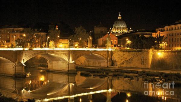 Wall Art - Photograph - Tiber River And Ponte Vittorio Emanuele II Bridge With St. Peter's Basilica. Vatican City. Rome by Bernard Jaubert