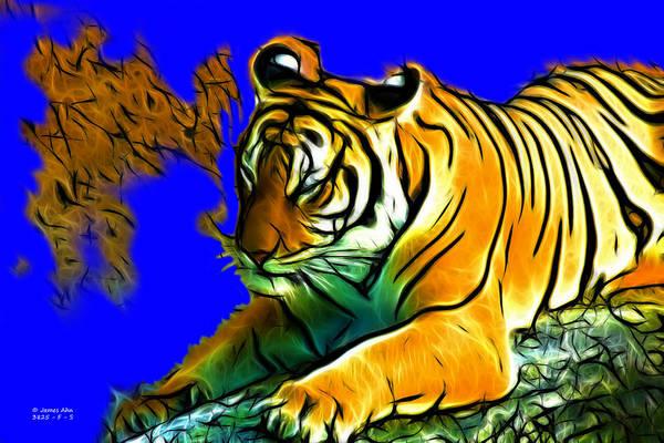 Digital Art - Tiger -3825 -blue by James Ahn