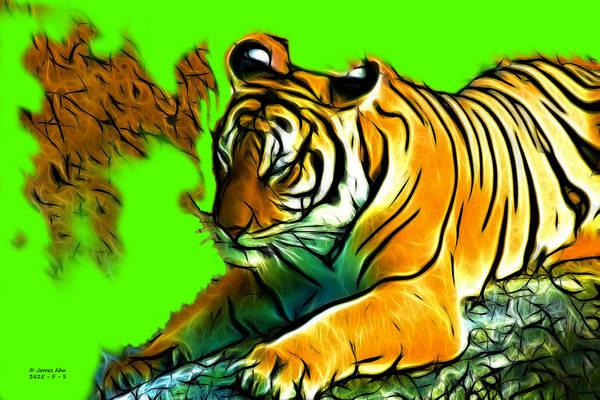 Digital Art - Tiger -3825 - Green by James Ahn