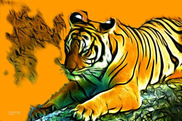 Digital Art - Tiger - 3825 - Orange by James Ahn
