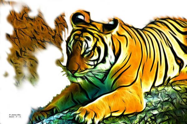 Digital Art - Tiger -3825 - White by James Ahn