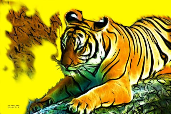 Digital Art - Tiger -3825 - Yellow by James Ahn