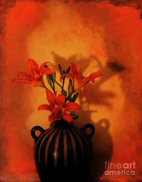 Tigerlily Wall Art - Photograph - Tigerlilies  In Pottery Made In Peru by Marsha Heiken
