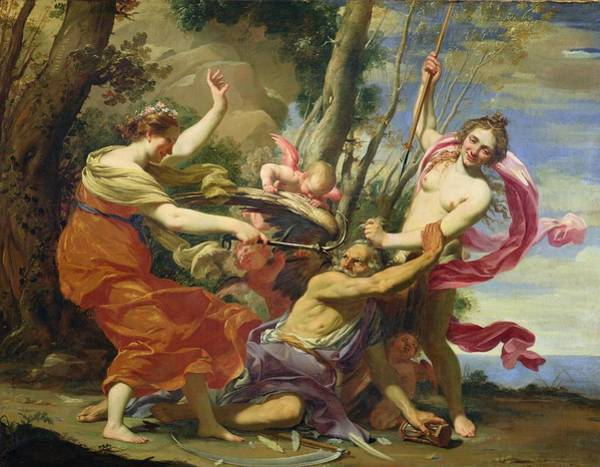 Wall Art - Painting - Time Overcome By Youth And Beauty by Simon Vouet