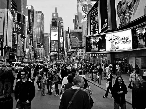 Photograph - Times Square New York Bw by David Dehner
