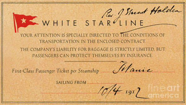 Photograph - Titanic: First Class Ticket by Granger