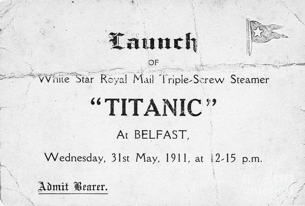 Photograph - Titanic: Launch, 1911 by Granger