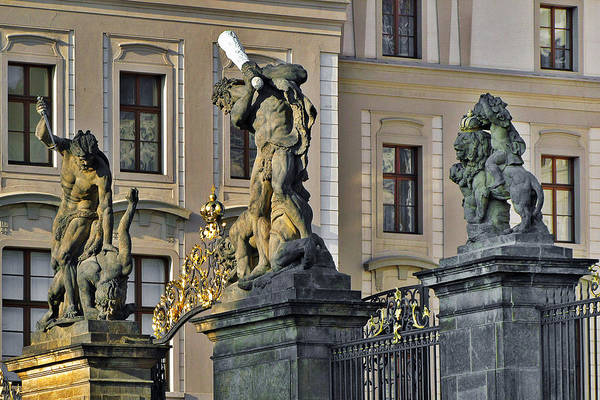 Wall Art - Photograph - Titans Battling Outside Prague Castle by Christine Till