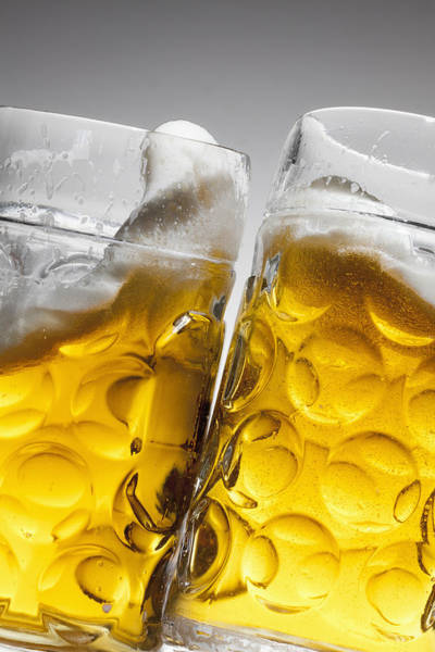Lager Photograph - Toasting With Two Glasses Of Beer by Dual Dual