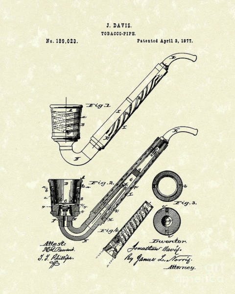 Tobacco Wall Art - Drawing - Tobacco Pipe 1877 Patent Art by Prior Art Design