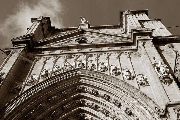 Photograph - Toledo Cathedral Entrance In Sepia by Lorraine Devon Wilke