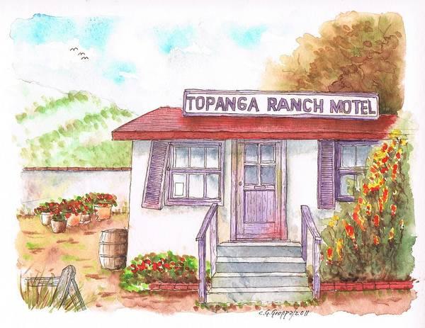 Acuarela Painting - Topanga Ranch Motel - California by Carlos G Groppa