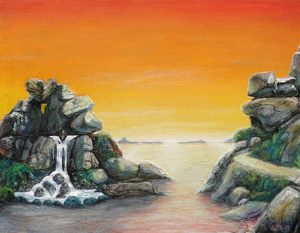 Roger Dean Wall Art - Painting - Topographic Sunrise by Bryan Dechter