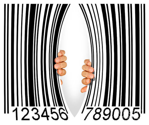 Capitalism Wall Art - Photograph - Torn Bar Code by Carlos Caetano