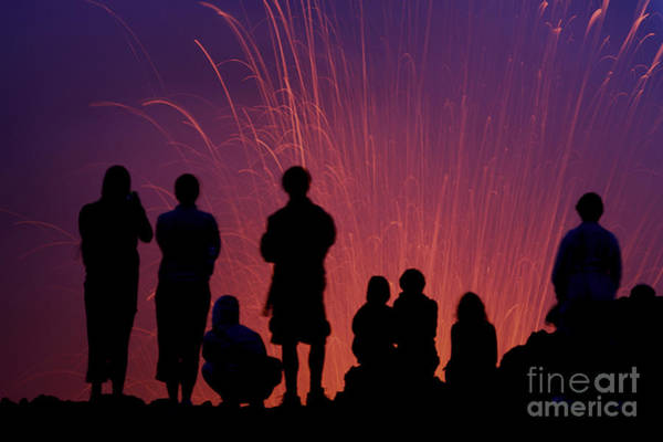 Yasur Photograph - Tourists Observing The Strombolian by Richard Roscoe