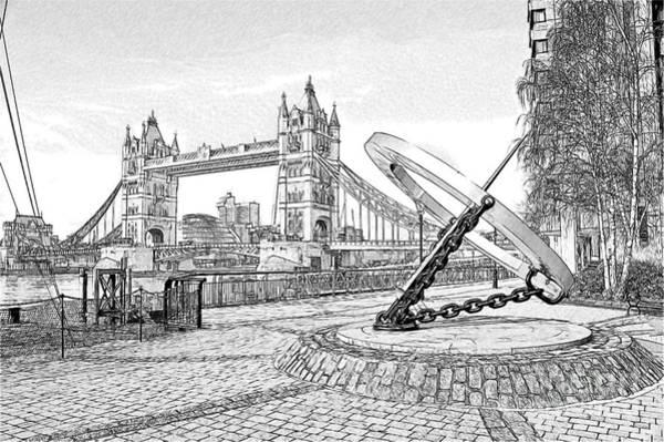 Wall Art - Digital Art - Tower Bridge Sketch by Donald Davis