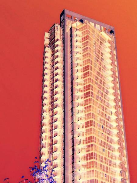 Highrise Digital Art - Tower Red by Randall Weidner
