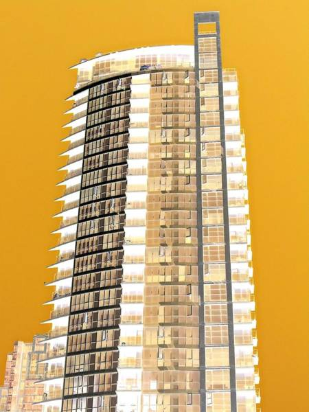 Highrise Digital Art - Tower Yellow by Randall Weidner