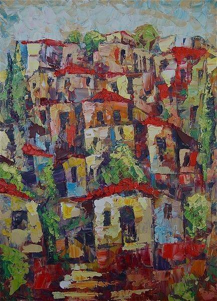 Avi Painting - Town On A Hill by Avi Gorzhaltsan