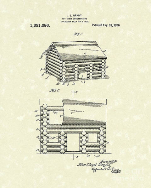 Log Drawing - Toy Cabin 1920 Patent Art by Prior Art Design